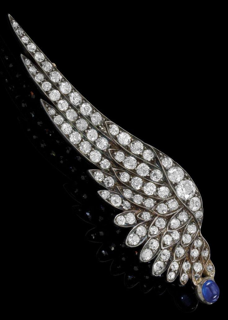 A Belle Epoque gold, silver, diamond and sapphire brooch, circa 1900. Designed…