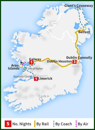 Six Day Tour - Wild Atlantic Way & Causeway Coast - Railtours Ireland First Class