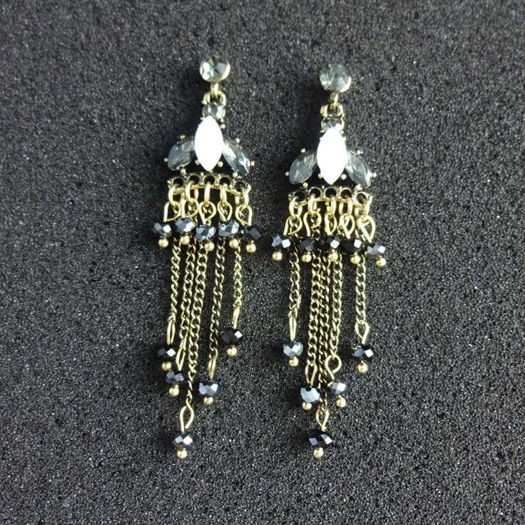 Fashion Womens Earring Jewelry Black Tassel Earrings