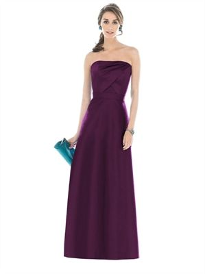 A-line Purple Strapless Straight Neckline Floor Length Bridesmaid Dress BD10084 www.dresseshouse.co.uk £86.0000