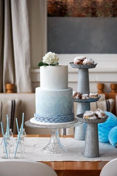 Pale blue ombre coastal wedding cake via A Whole Lotta Love Wed Bliss