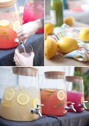 Love this trio of summer inspired infused lemonades. Perfect for a BBQ or get-together. Via  Oh Happy Day!