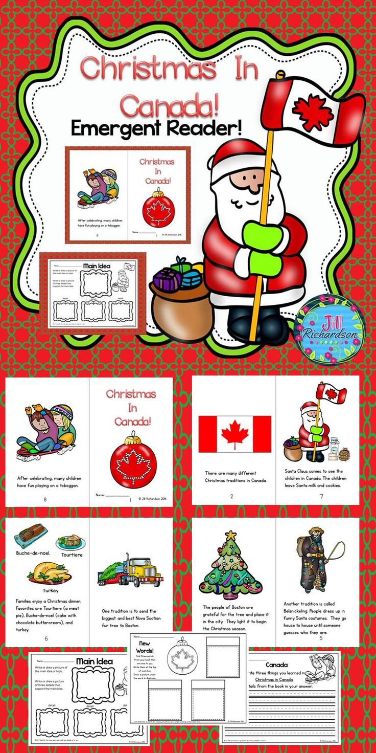 Christmas in Canada Emergent reader will be a great addition to your book boxes in December. Take a Preview Peek! Included: 8 page booklet in color and black and white Main Idea Printable Writing Printable New Words Printable Compare and Contrast Printable Let the children put the book in their book boxes and practice reading for a week! Take it home and read it again and again to learn about Christmas Around the World!