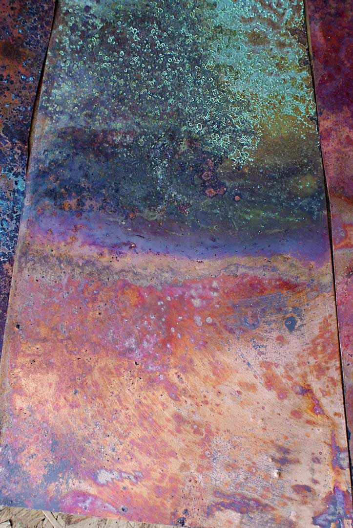 Creating patina on metal with heat.                                                                                                                Copper Red Patina