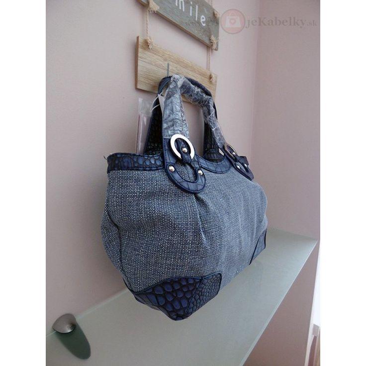 Značková talianska kabelka J&C modrá ekokoža+textília JC744-2