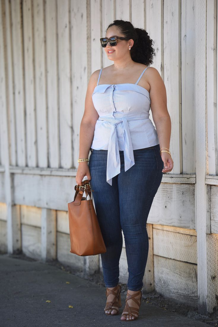 70b5b5f2360 14 Plus Size Jeans Outfits That Will Turn Heads  Skinny Plus Size Jeans and  Tie-Waist Top