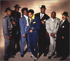 Back in time: The Time shopped in thrift stores for their retro threads in 1990. From left are Terry Lewis, Jellybean Johnson, Jesse Johnson, Morris Day, Jimmy Jam Harris, Jerome Benton and Monte Moir.
