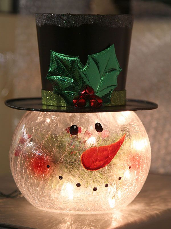 Check out the deal on Lighted Crackle Glass Snowman - 8 Inch Electric at Battery Operated Candles