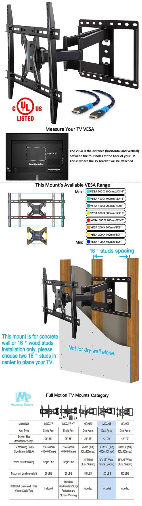 TV Mounts and Brackets: Tv Wall Mount Bracket Full Motion Articulating Arm Stud Led Lcd Oled Flat Screen -> BUY IT NOW ONLY: $67.99 on eBay!