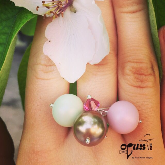 Sweet Pearl Handmade Ring #handmade #ring #pearl #colors #jewelry