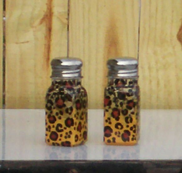 Leopard Print Salt and Pepper Shakers Handpainted by ourhousecraft, $14.95