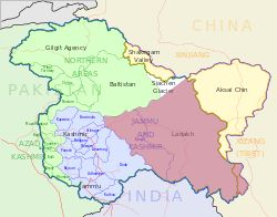 Ladakh (pink) as seen in the map of Indian-administered Kashmir