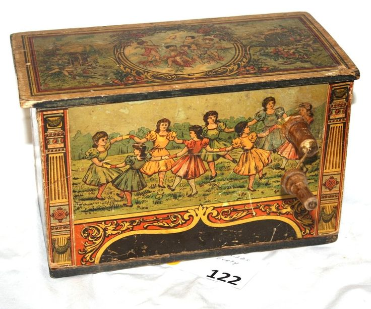 CHILD'S VICTORIAN HURTY GURDY TOY MUSIC BOX