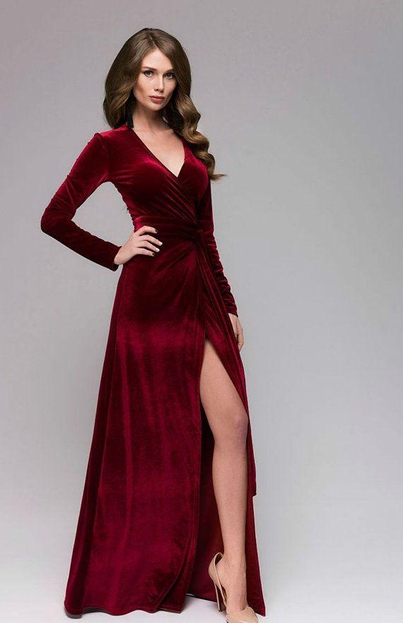 Beautiful Marsala Velvet Dress Wrap Dress Burgundy Formal