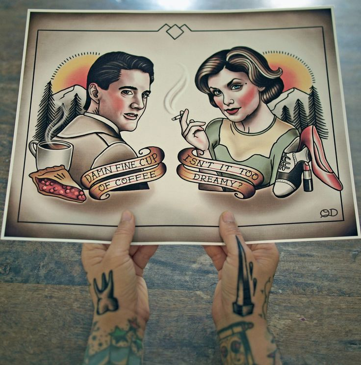 Dale Cooper and Audrey Horne Tattoo Flash by ParlorTattooPrints on Etsy https://www.etsy.com/uk/listing/285535947/dale-cooper-and-audrey-horne-tattoo