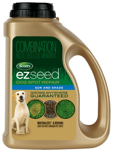 Scotts EZ Seed Dog Spot Repair repairs urine spots in your lawn caused by dogs using a neutralizing ingredient, and a super absorbent growing material.