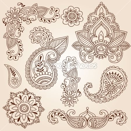 Henna Mehndi Paisley Flowers Doodle Vector Design Elements by blue67 - Imagen vectorial