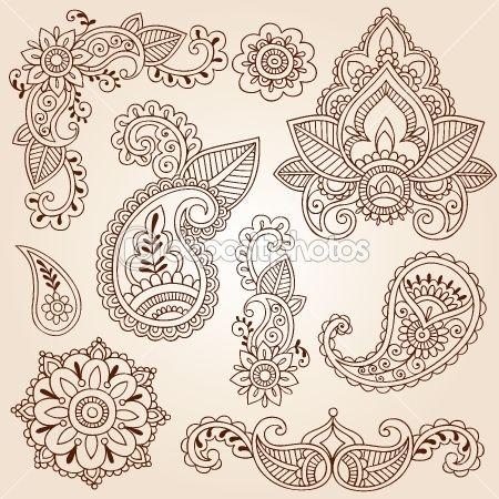 Henna Mehndi Paisley Flowers Doodle Vector Design Elements by blue67 - Imagen vectorial