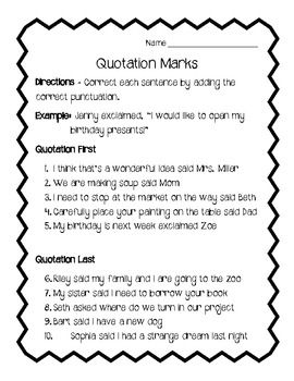 Quotation Marks Worksheet Review - FREE