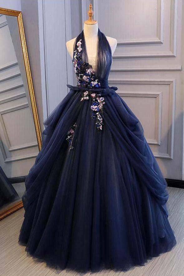 Awesome Princess Ball Gown Dark Blue Tulle Halter Prom Dresses Deep V Neck Backless Even…