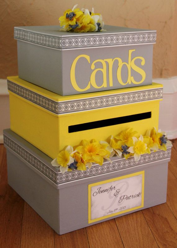 Custom Wedding Card Box, 3 Tier, Card Holder, Square, Yellow and Gray, Daffodils, Wedding Decor on Etsy, $88.16 CAD