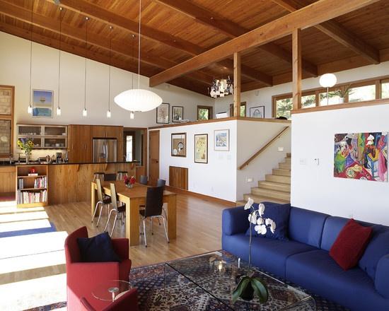 Furniture lights ceiling paneling 1970s split level - Modern split level house plans designs ...