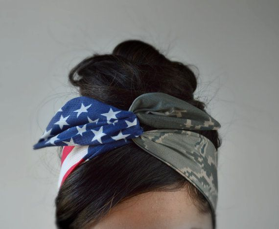 Airforce Tiger stripe digital Camo Patriotic Dolly bow, American Flag head band, hair bow