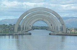 Falkirk Wheel,  view from the Channel itself.