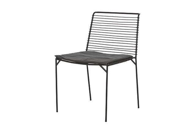 Cancun Slat Dining Chair in Black/Charcoal #globewest #contemporary #style #outdoor #furniture