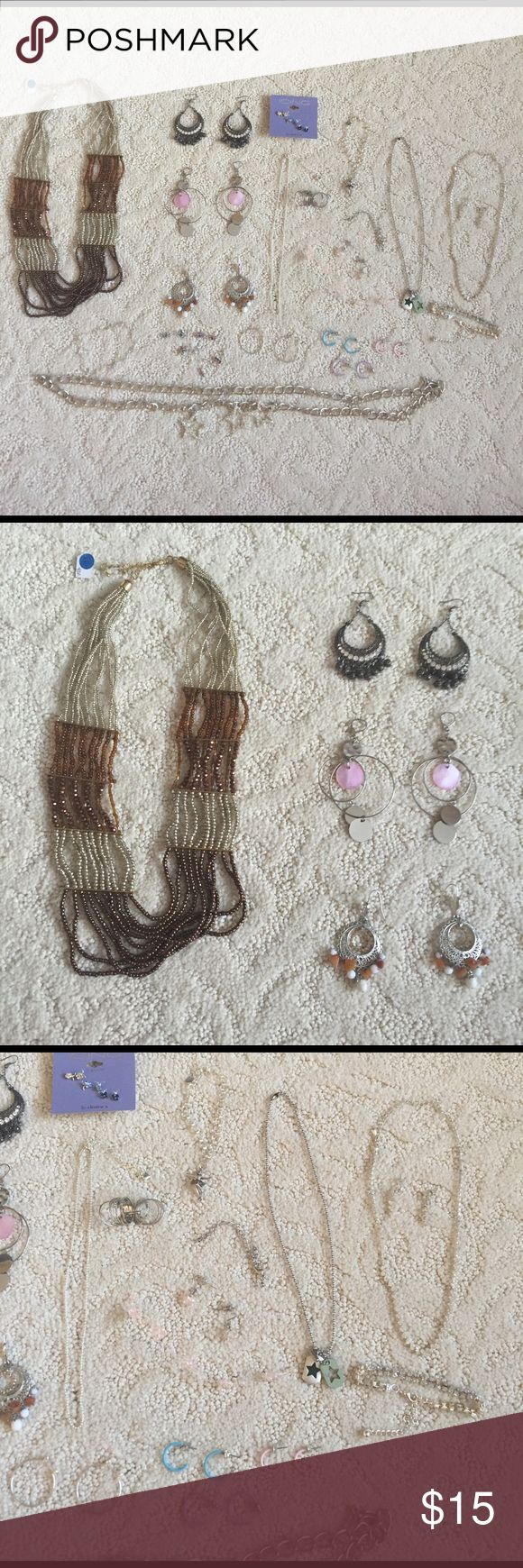 Huge Jewelry Bundle Fantastic condition. Most has never been worn and some have been worn maybe once. Bundle includes 16 sets of earrings, 3 bracelets, 5 necklaces, 1 chain belt and 1 ring. Items are from Zara, H&M & Claire's Zara Jewelry