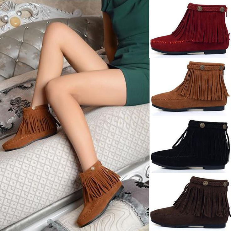 Boho Flat Fringed Faux Suede Ankle Boots Booties Oxfords Moccasin Brown P107 #New #Flat