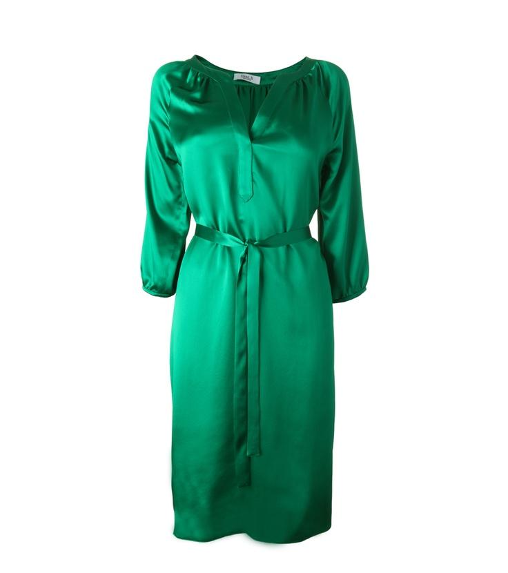 FLEUR B. FOUNDATION DRESS-  Green. Kneelength silk satin dress with 3/4 length sleeves and belted waist. www.fleurb.co.uk