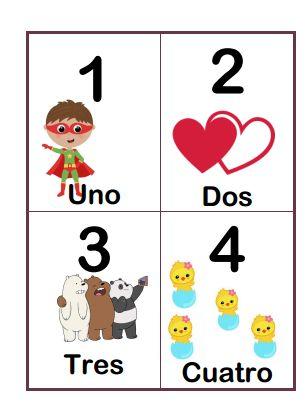 Tarjetas de números del 1-10
