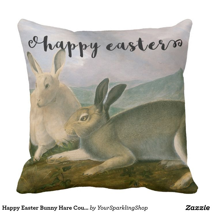 Happy #Easter Bunny #Hare Couple #Watercolor Vintage #ThrowPillow