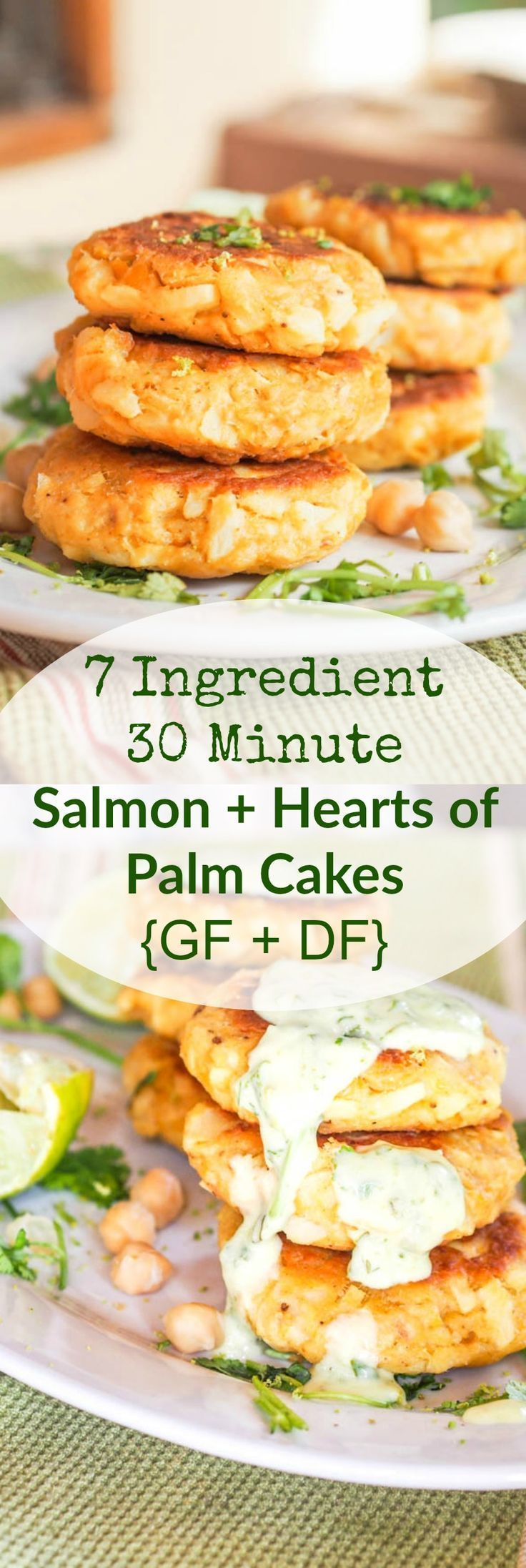 Super soft and delicious 30 minute seven ingredient salmon cakes with hearts of palm and chickpeas. A perfect gluten free and dairy free lunch or dinner. Serve with a home made Cilantro Lime Aioli for the ultimate flavor explosion.