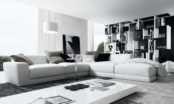 Furniture - Elegant Couch In White Manufactured In L Shape With Low Coffee Table And Industrial Bookcase In White And Black: Creative Sofa Design Ideas for Your Modern Living Room