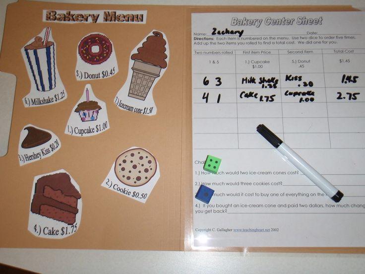 Bakery Math Center: Money Math, Math Centers, File Folder Games, Math Ideas, Dice Games, Center Dice, Bakeries Math, Free Printable, Dice Money Games