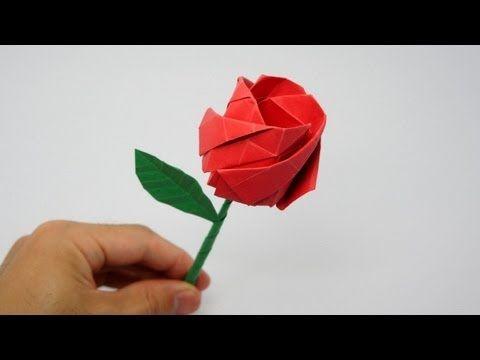 Fácil Origami Rosa instruções ♥ Como fazer um origami ROSA: - YouTube