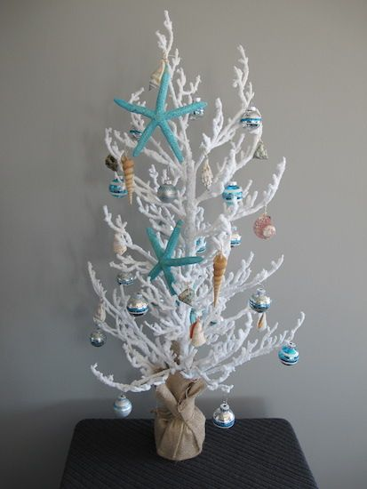Seacoast holiday decor, with a coral tree and shell details.