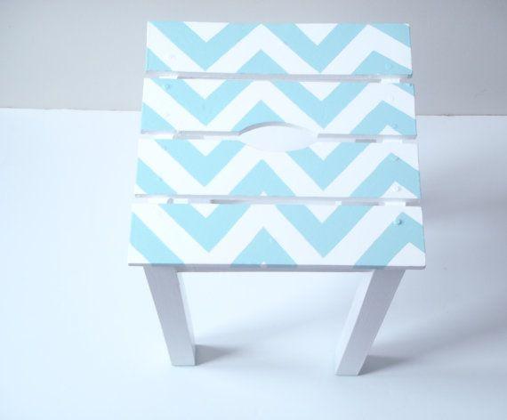 Chevron Stool Handpainted Rehabilitated stool by SophieLDesign