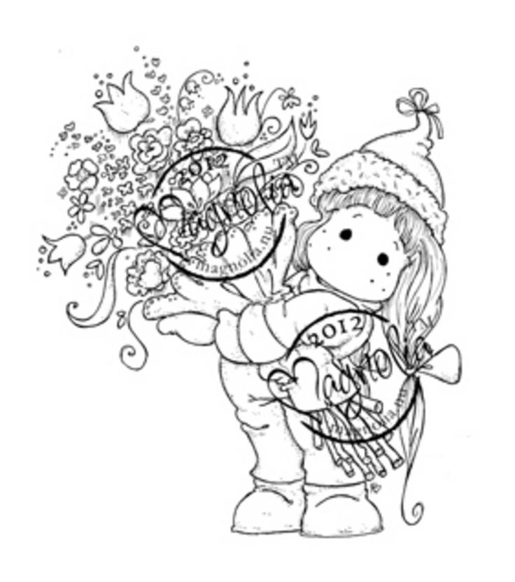 A Christmas Story Cling Stamp-Tilda With Big Bouquet