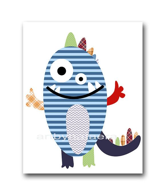 Nursery Print Kids Wall Art Monster Nursery by artbynataera