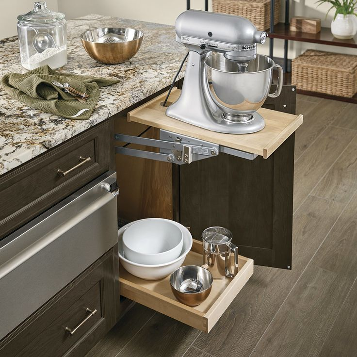 Best Base Mixer Shelf In Cannon Grey Cherry Modern Kitchen 400 x 300