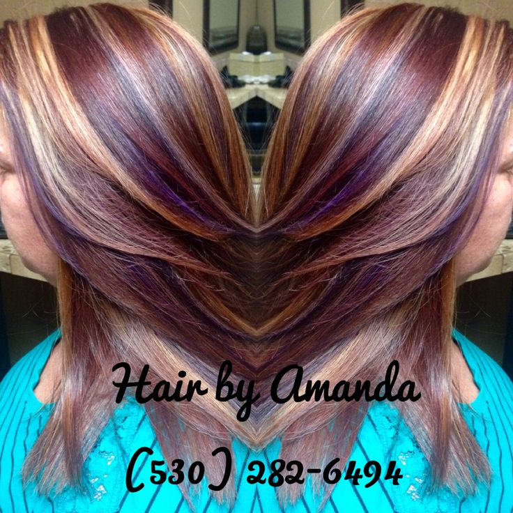 Red brown, golden blonde, and Violet highlights.