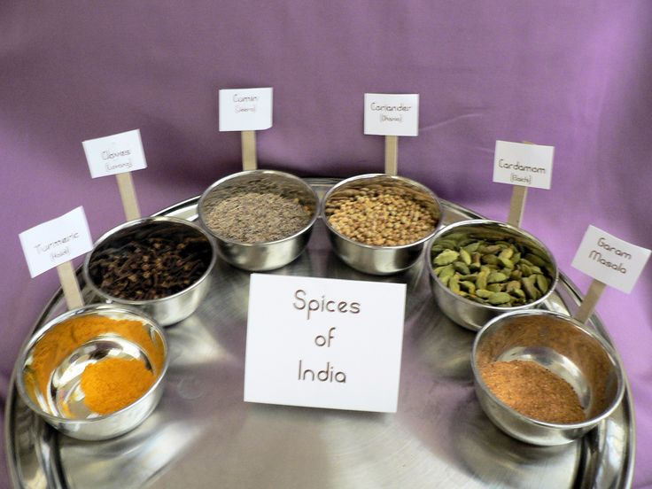 Science & sensory:Montessori Spice Activity- could change for every continent throughout the school year