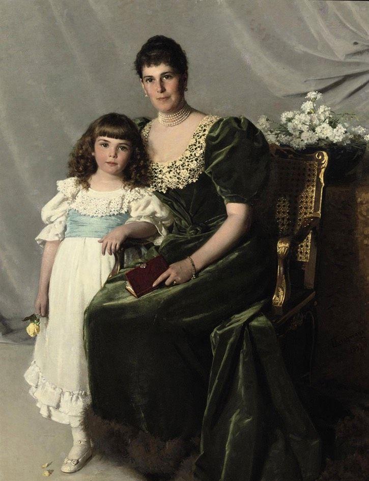 1893 Countess Marie Louise Larisch von Moennich and her daughter Marie Henriette by Cherubino Kirchmayr (auctioned by Christie's) From Google search shadows