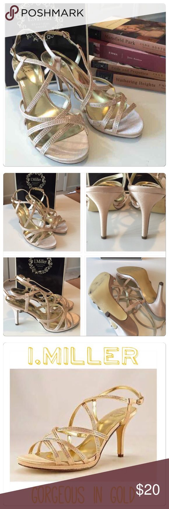 """I. Miller Sexy Gold Sandals / Heels ✨Gorgeous in Gold """"Bacall"""" strappy sandal/heel. Make an impression with these beauties. Bought for a wedding I was in, wore for less than two hours and put on flats lol. Heels kill me. Shoe itself is flawless, and just some wear on sole from walking on pavement. Still retail at 60. So great deal here, I will stick to my flats lol. Enjoy.✨gold is a nicer lighter gold than they show in Google photos. 3 1/2"""" heel. I. Miller Shoes Heels"""