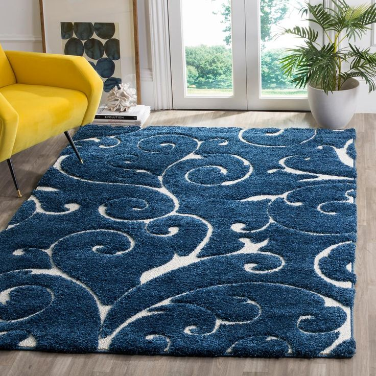 Florida Shag Dark Blue/Cream (Dark Blue/Ivory) 6 ft. x 9 ft. Area Rug