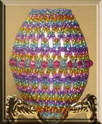 Beaded Easter Egg Pattern:  Carousel Easter Egg; Beadwork Designs by Joanie Jenniges