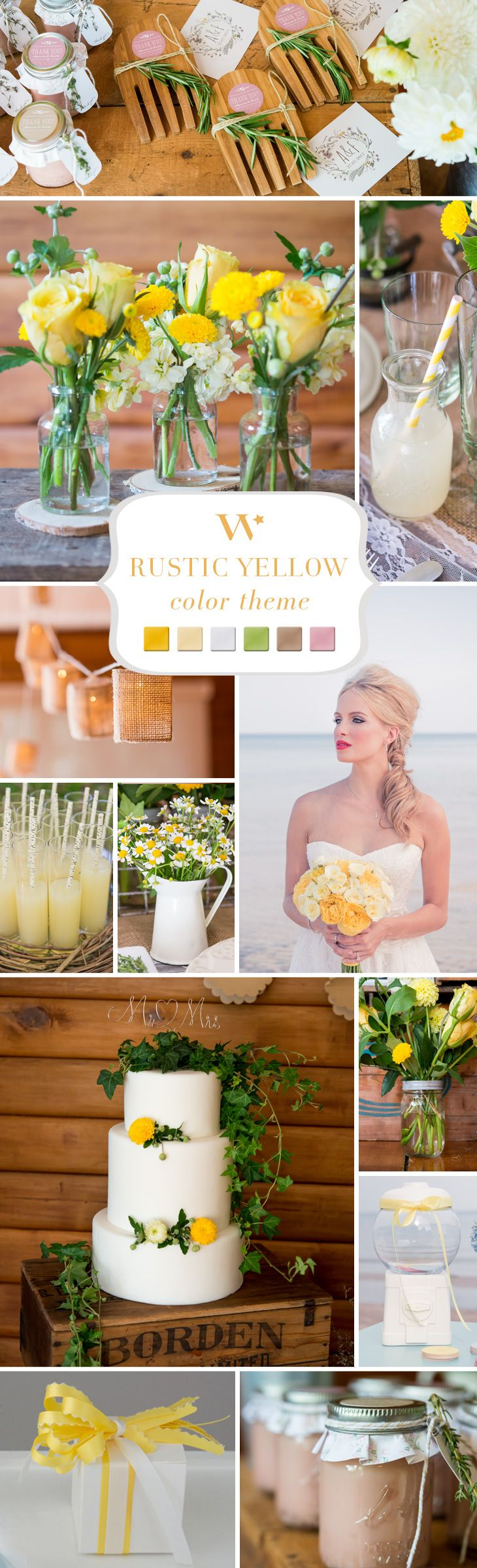 Yellow produces an instant warming effect. The color of sunshine, it naturally evokes feelings of joy and happiness. Add touches of this happy color to your day for a bright accent to your already stunning celebration.